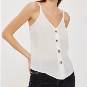 Topshop Camisole Top with Tortoise Shell Buttons